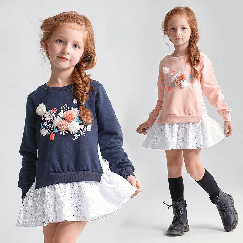 06c452dcd 100% Cotton Kids Dresses For Girls Flowers Appliques Winter Autumn ...