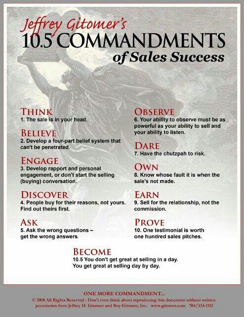 Commandments Of Sales Success  Pr Inspiration