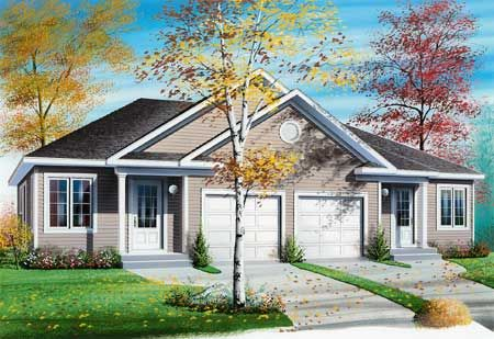 Plan 2145DR Duplex with Center Car Garage for Privacy in