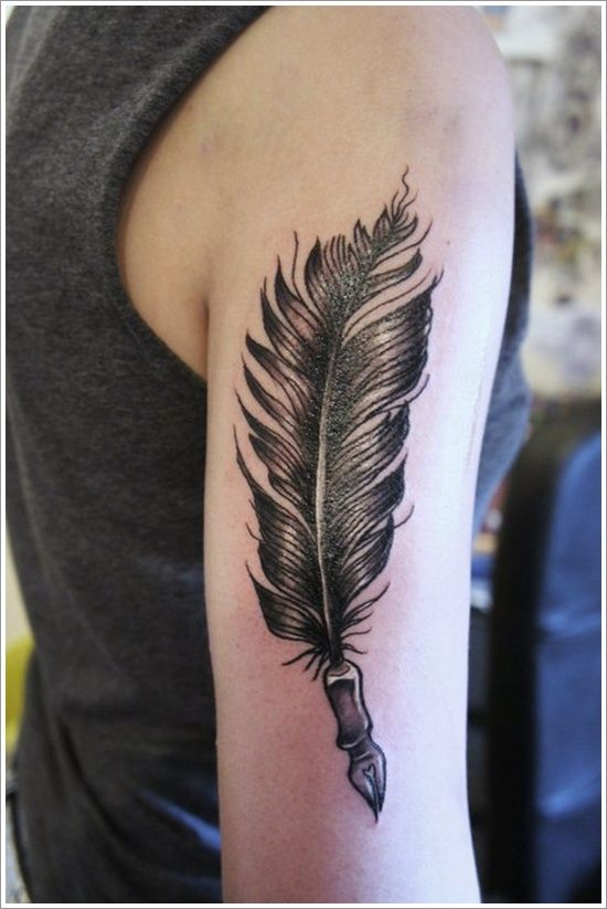 2401486b21548 40 Amazing Feather Tattoos You Need on Your Body!   Feather Tattoos ...