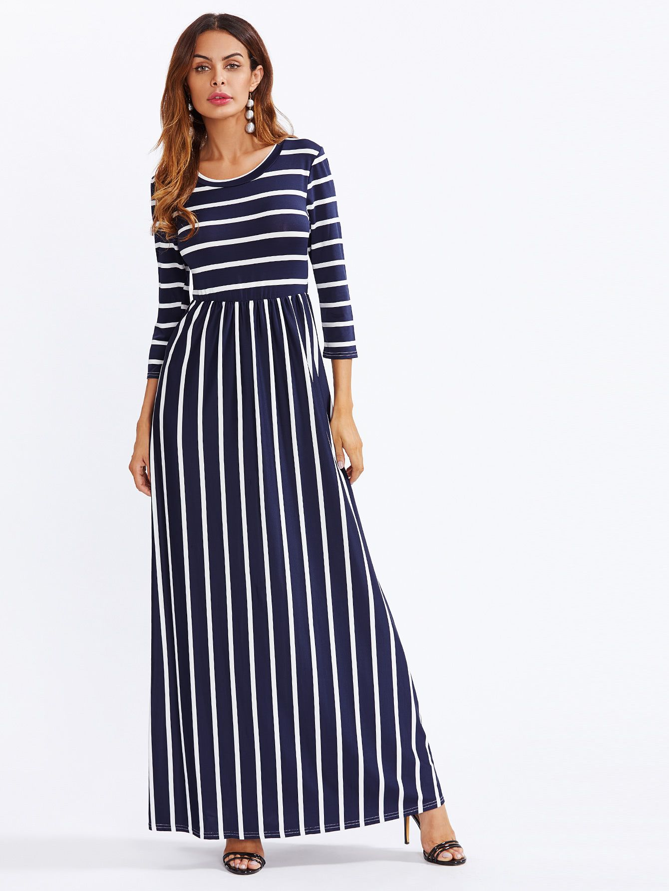 fa4681b3e8 Colorful Striped High Waist Dress -SheIn(Sheinside) | What to wear ...