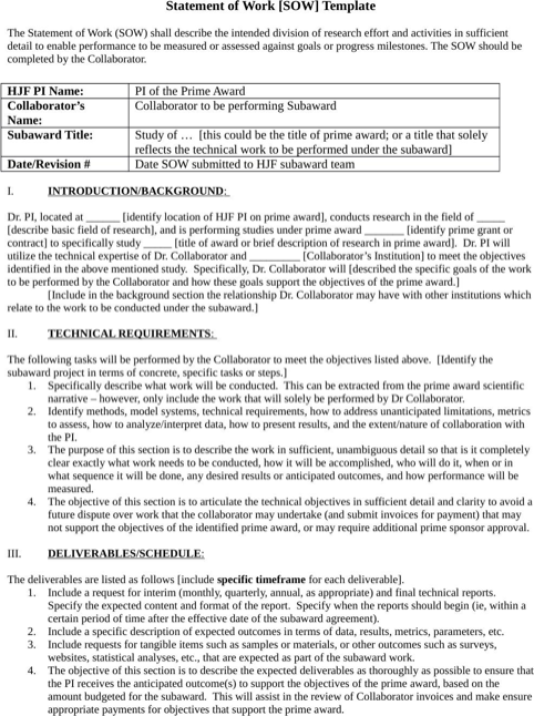 Statement Of Work Template Templates Forms Statement Of Work
