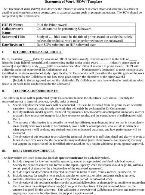 Statement Of Work Template Statement Of Work Statement Templates