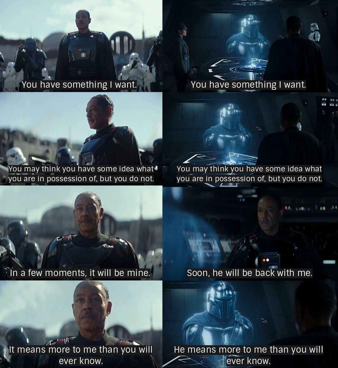 Mando And Moff Gideon Parallel The Mandalorian Star Wars Images Star Wars Facts Star Wars Humor
