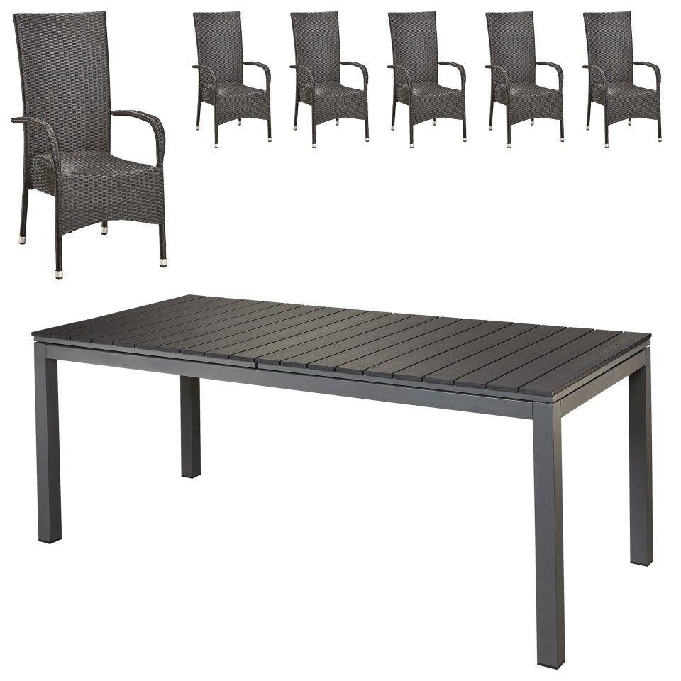 27ad239880 Gartenmöbel-Set Las Vegas XXL/Palermo XL (90x200-260, 6 Stühle, schwarz) - Dänisches  Bettenlager