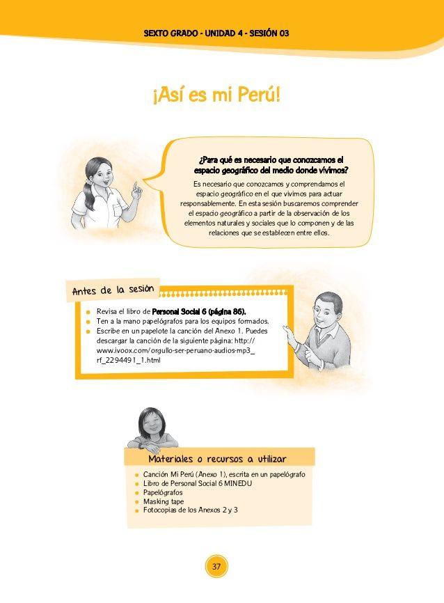 Grupo clase Coloca en la pizarra un mapa físico del Perú e