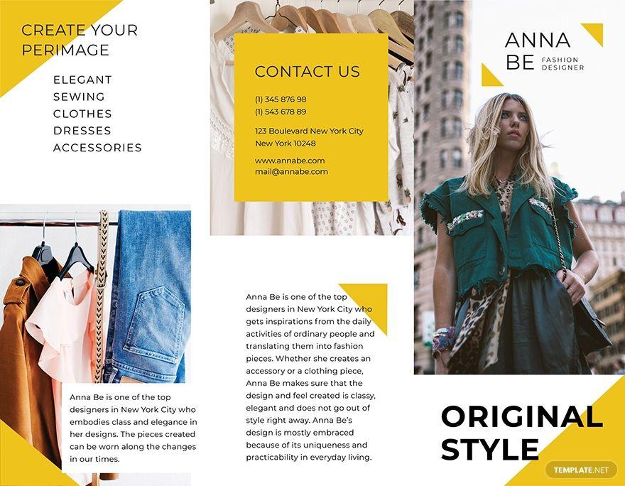 Fashion Designer Tri Fold Brochure Brochure Template Fashion Design Creative Photos