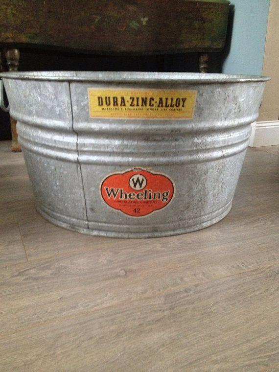 Large Vintage Metal Galvanized Washtub With Handles Wheeling Steel Wva Vintage Metal Wash Tubs Vintage