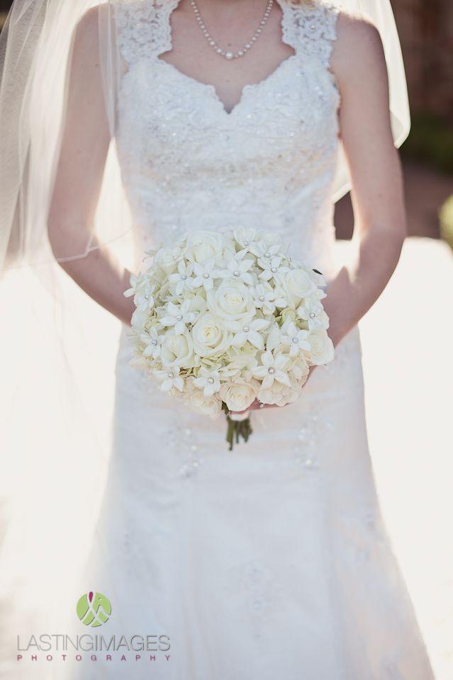 Classic white rose bridal bouquet   Lasting Images Photography   villasiena.cc