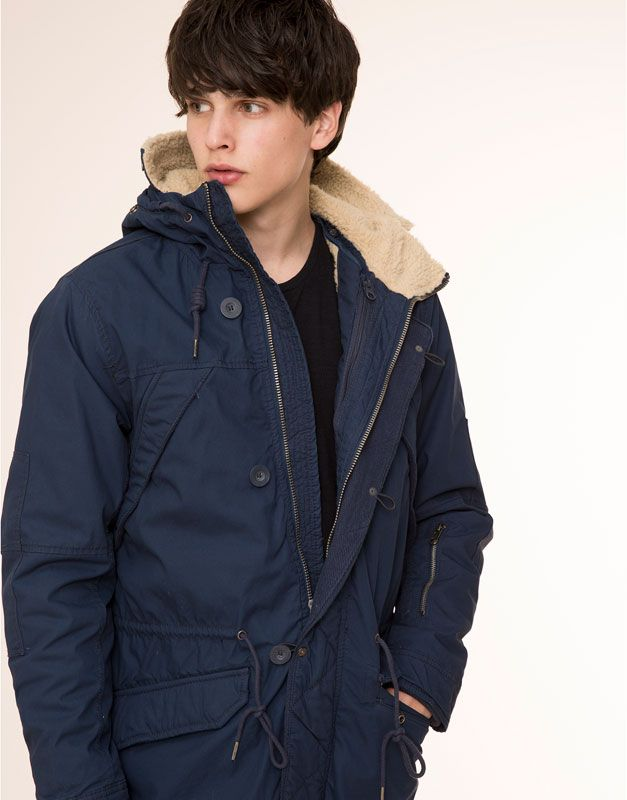7248ff9aaf2 Pull Bear - homme - manteaux - parka à capuche amovible - bleu marine