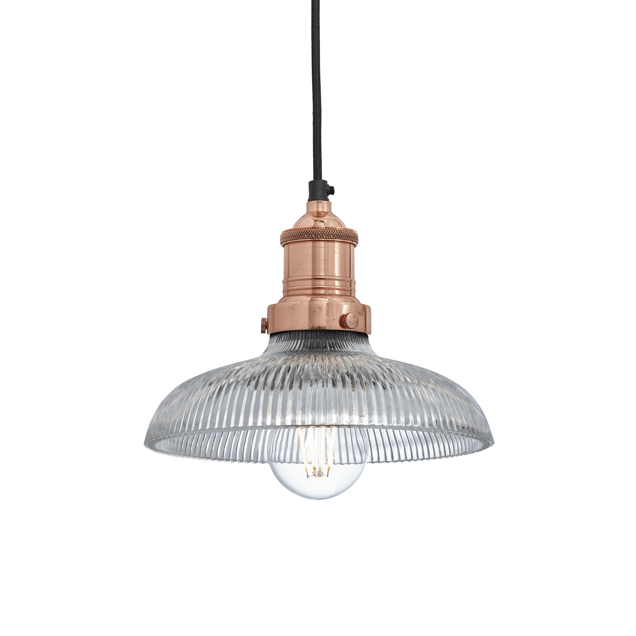 Industville Brooklyn Glass Dome Pendant 8 Inch Ceiling Light Light Shade Copper Clear Colour Copper Brass Retro Lighting Glass Domes Glass