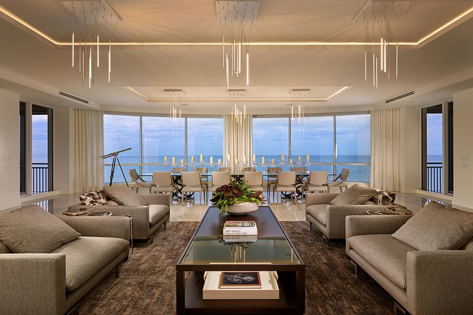 Listing Of The Day A Contemporary Penthouse In Naples Contemporary Interior Design Contemporary Living Room Luxury Interior