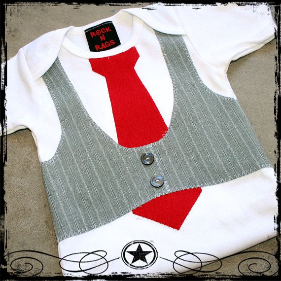 12 18m Gray Striped Vest Red Tie White Short Sleeve Etsy White Long Sleeve Bodysuit Striped Vests Brown Bodysuit