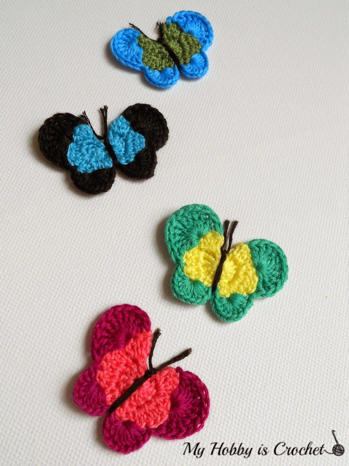 Crochet Butterfly Applique Free Crochet Pattern (My Hobby Is Crochet ...