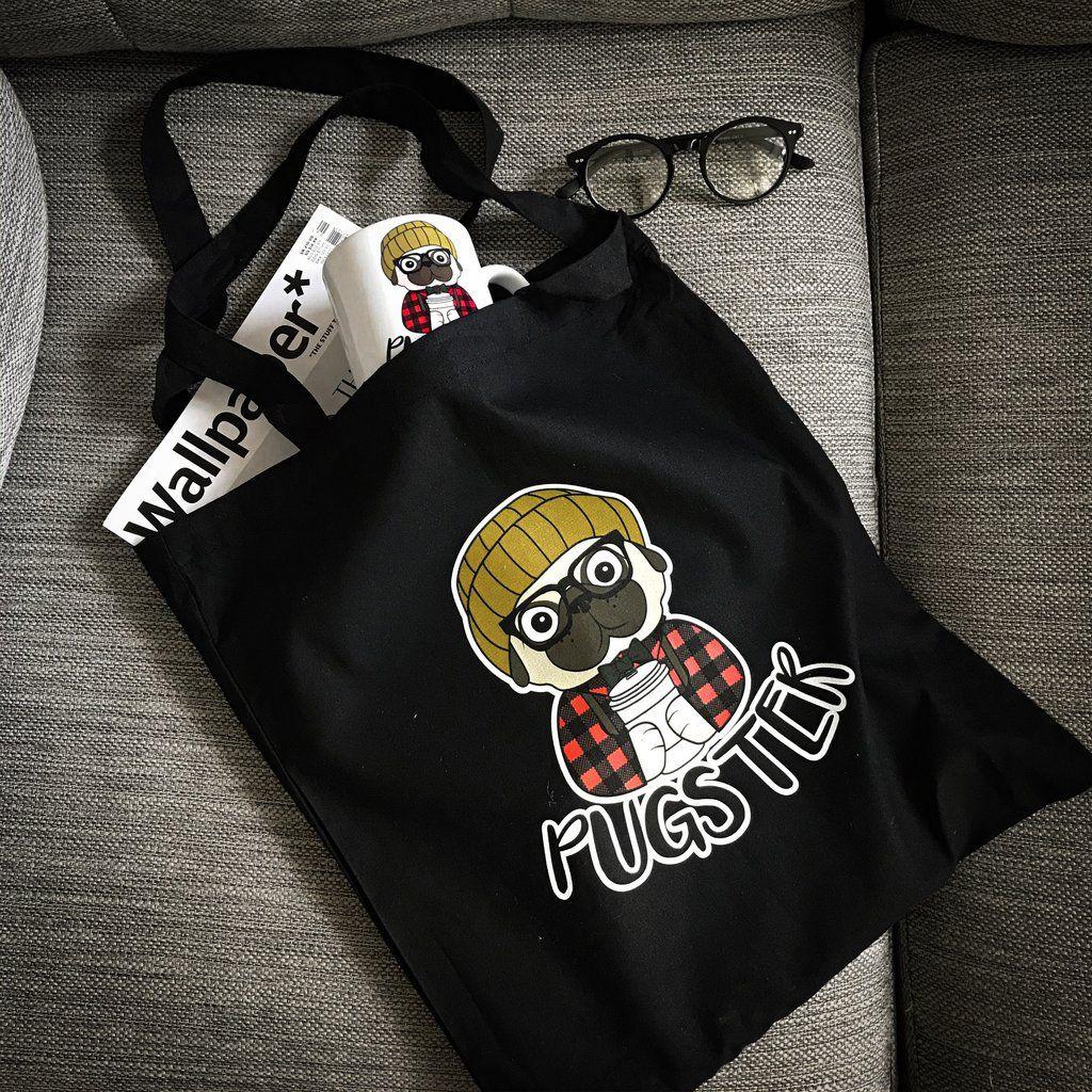 Black Pugster Cotton Bag 10 Designed And Made In Uk Best Dog
