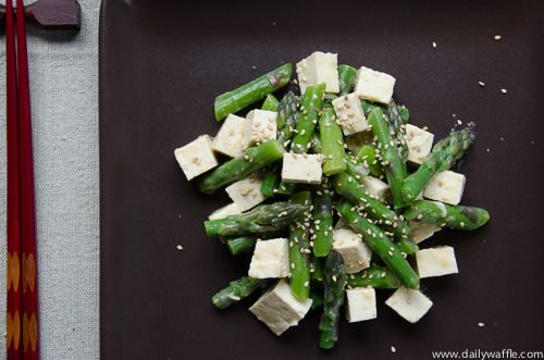 Pretty Good Number One Inspires Asparagus & Tofu w/ Sesame-Miso Vinaigrette