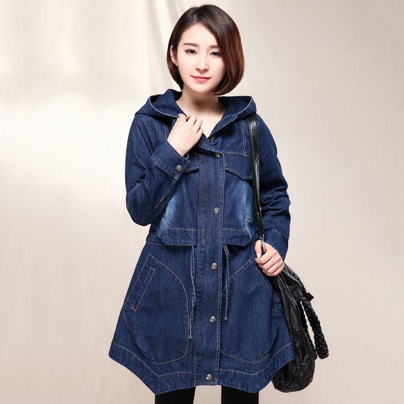 >> Click to Buy << Women Trench Coats 2015 Casual Denim Coat Medium-long Outerwear Women Denim Overcoat Plus Size Waist Slim Coats H4685 #Affiliate