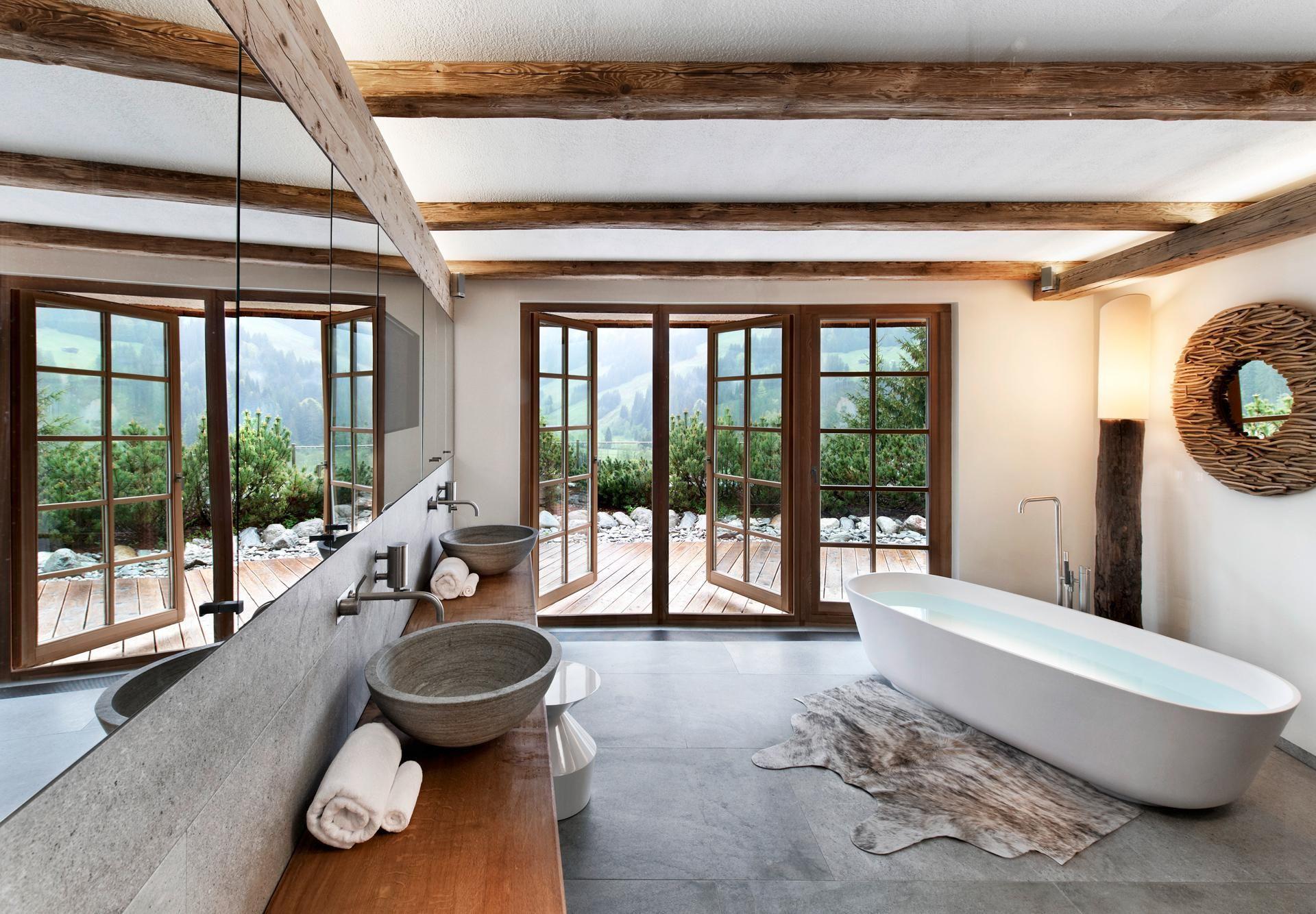 Badezimmer design rustikal gasteiger bad  kitzbühel  chalet stil  badplanung rustikal