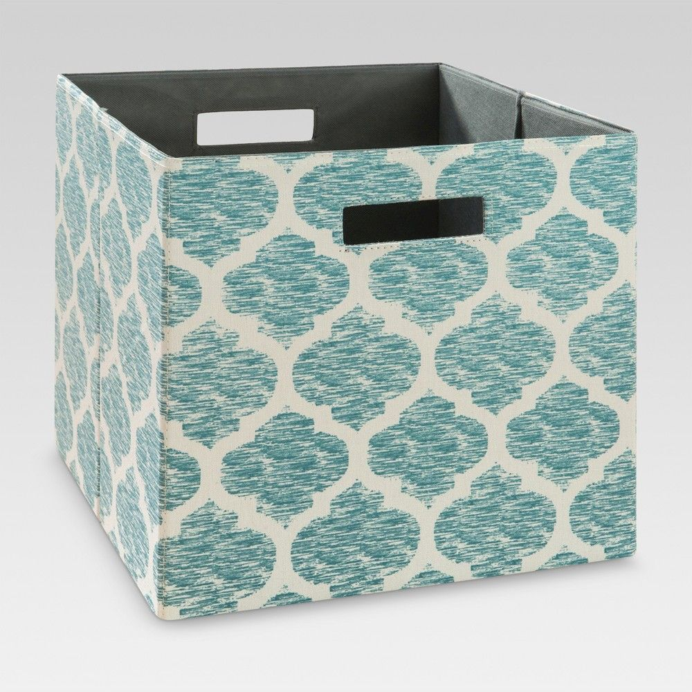 13 Fabric Cube Storage Bin Teal Pattern Threshold In 2020 Cube Storage Cube Storage Bins Fabric Storage Bins