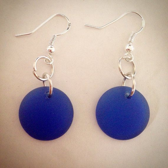 Blue Recycled Glass Earrings by PhunkyCreations555 on Etsy #recycledglass #recycled #earrings #ecofriendly #handmade #jewelry