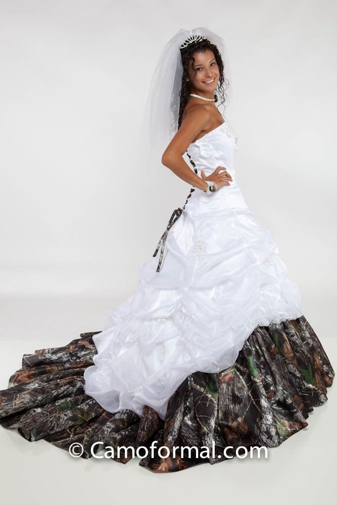 Charming Camo Wedding Dresses · Tessa   White Organza And Mossy Oak Trim Hell Yes!  Shawn Would Fall Twice In Amazing Ideas