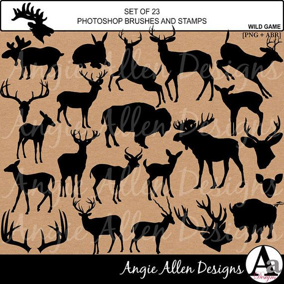 Wild Game Silhouette Photoshop Brushes abr by AngieAllenDesigns, $5.95