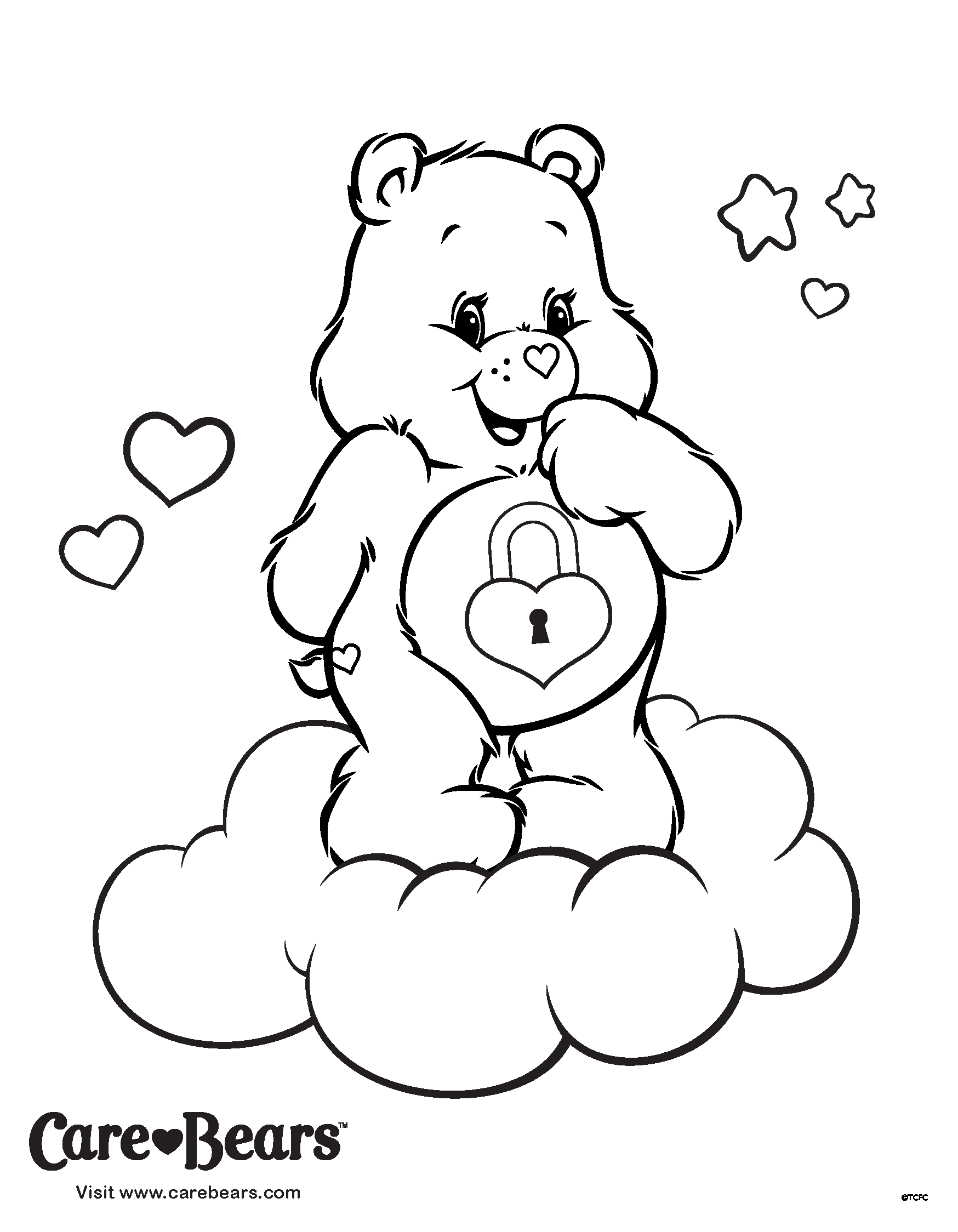Secret Bear on a Cloud Coloring Page Activity Time