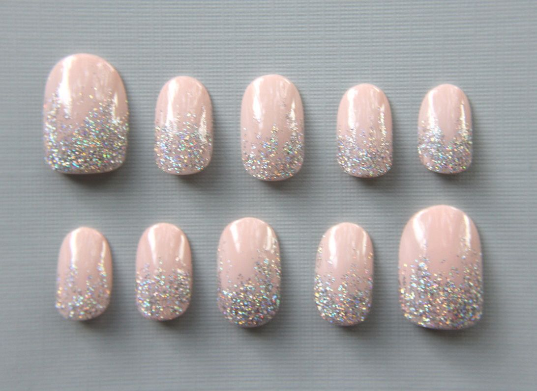 Oval Pinky Nude with Silver Glitter Nails | Press On Nails | Fake ...