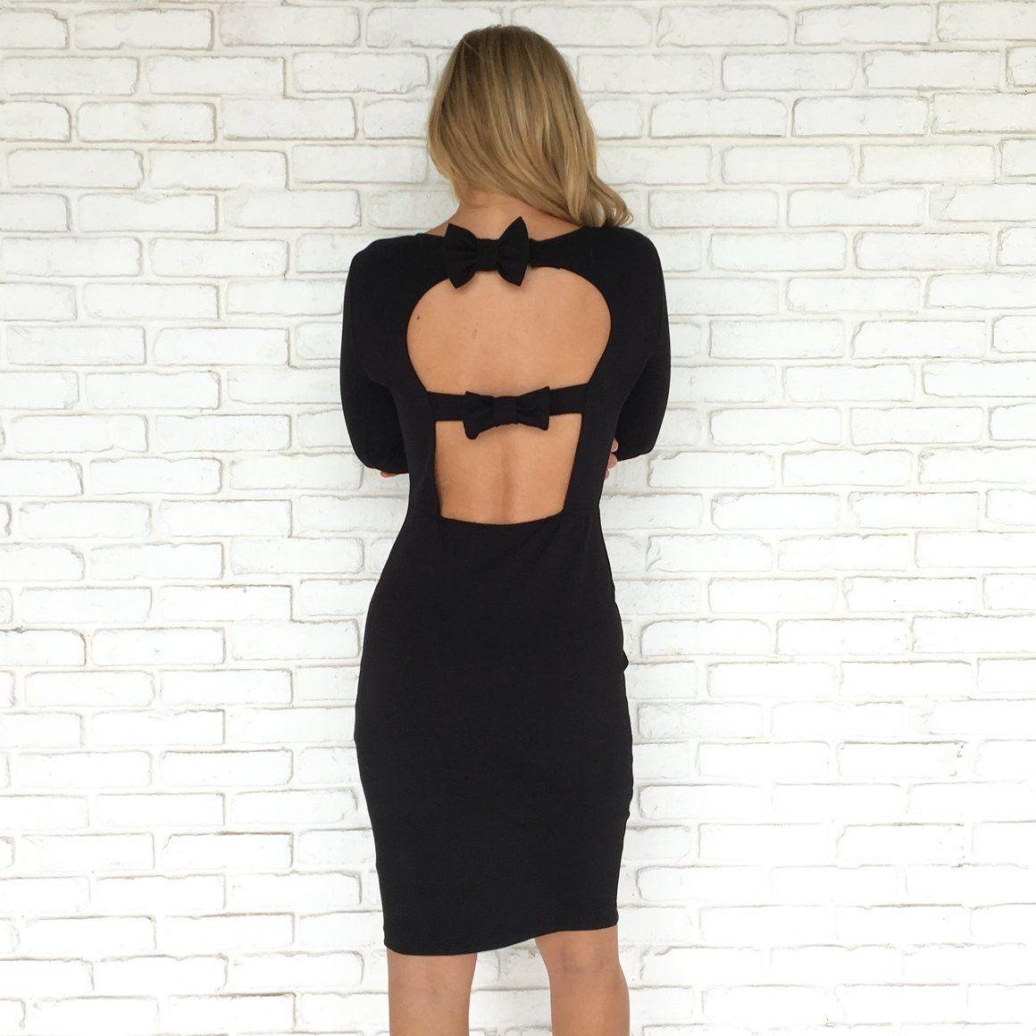 Sophisticated Little Bow Back Dress In Black Girls Night Out Bow Back Dresses Little Black Dress [ 1160 x 1160 Pixel ]