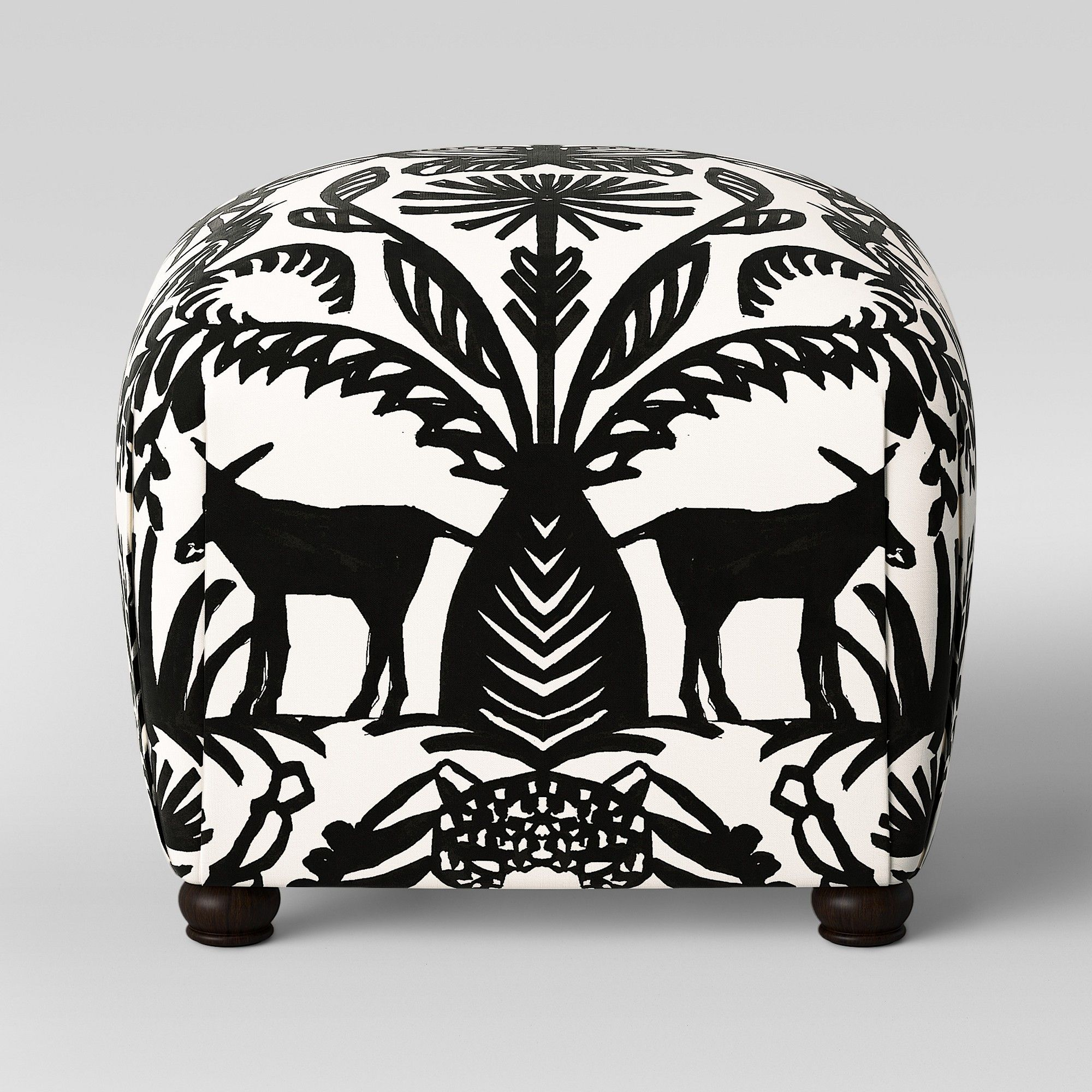 Poppy Ottoman Black & White Animal Print Opalhouse