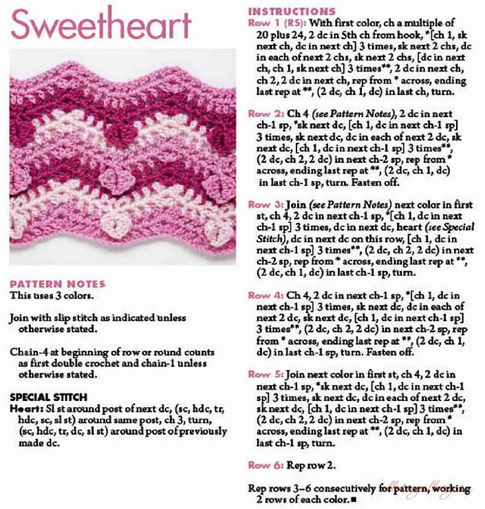 Nice crochet heart zig zag, ripple afghan free pattern. Cute for a ...