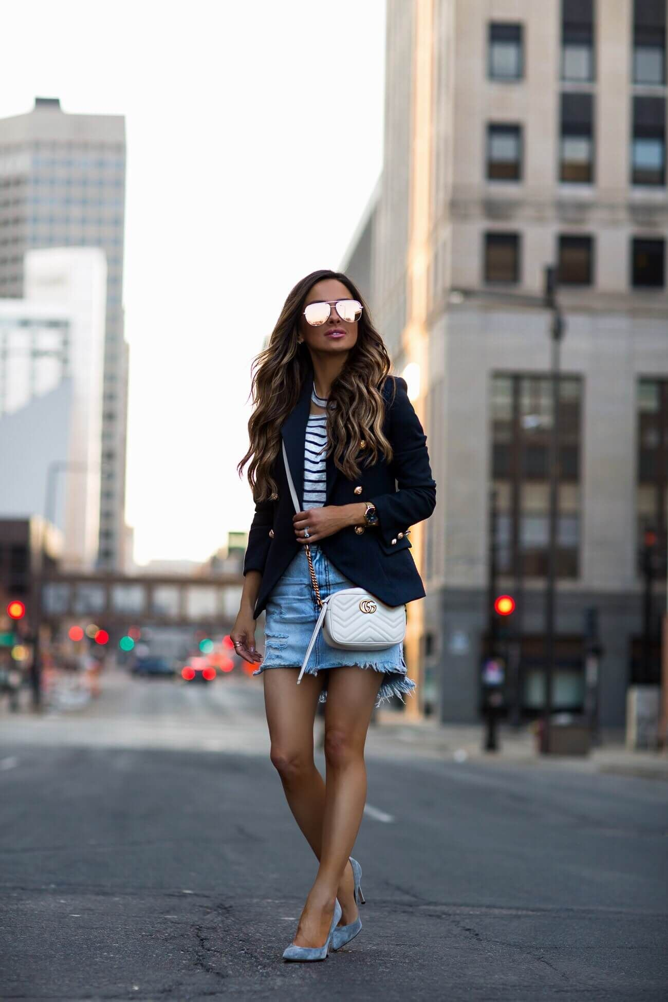 d15d56cdfa28 fashion blogger mia mia mine wearing a denim skirt and navy blazer from  shopbop