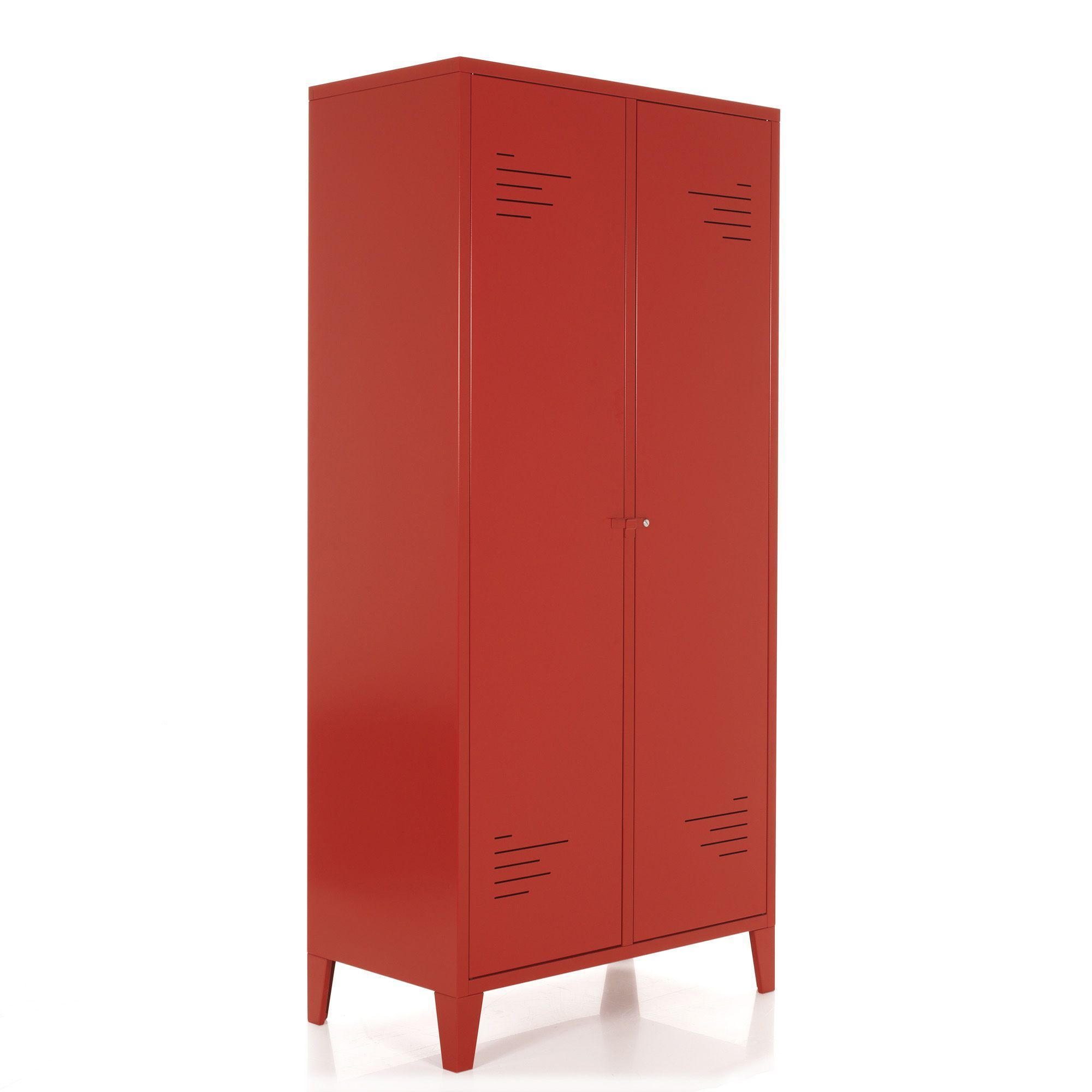 armoire 2 portes en m tal rouge lofter armoires portes ouvrantes armoires penderies. Black Bedroom Furniture Sets. Home Design Ideas