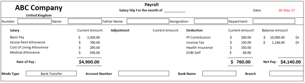 Get Easy To Use And Professionally Format Employee Payslip