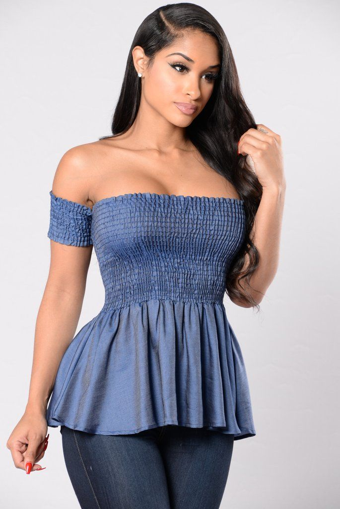 aa8720689b4 Available in Denim Blue - Baby Doll Top - Smocked - Off Shoulder - 100%  Tencel