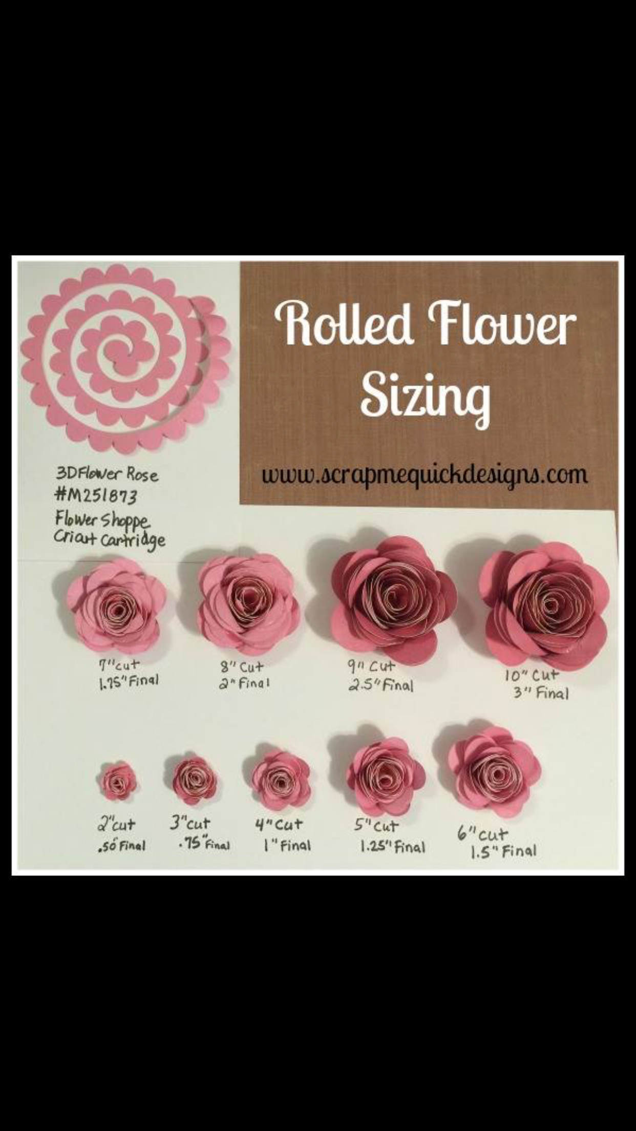 Rolled Flowers : rolled, flowers, Cricut, Rolled, Flower, Sizing, Shadow, Template,, Paper, Template