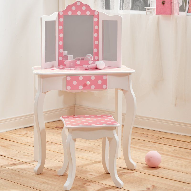 Girls Wooden Vanity Table White Pink Bedroom Home 57 Jpg 800 800 Wooden Vanity Vanity Table Vanity Set