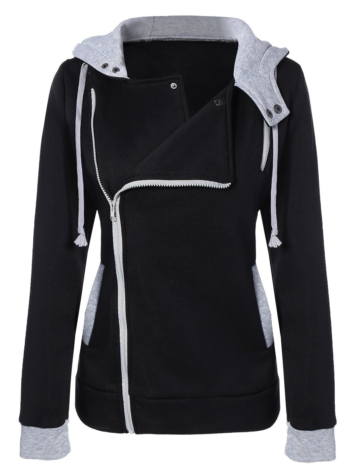 Black Casual Hooded Cotton Blend Fashionable Jacket for Women ... a74187b12c