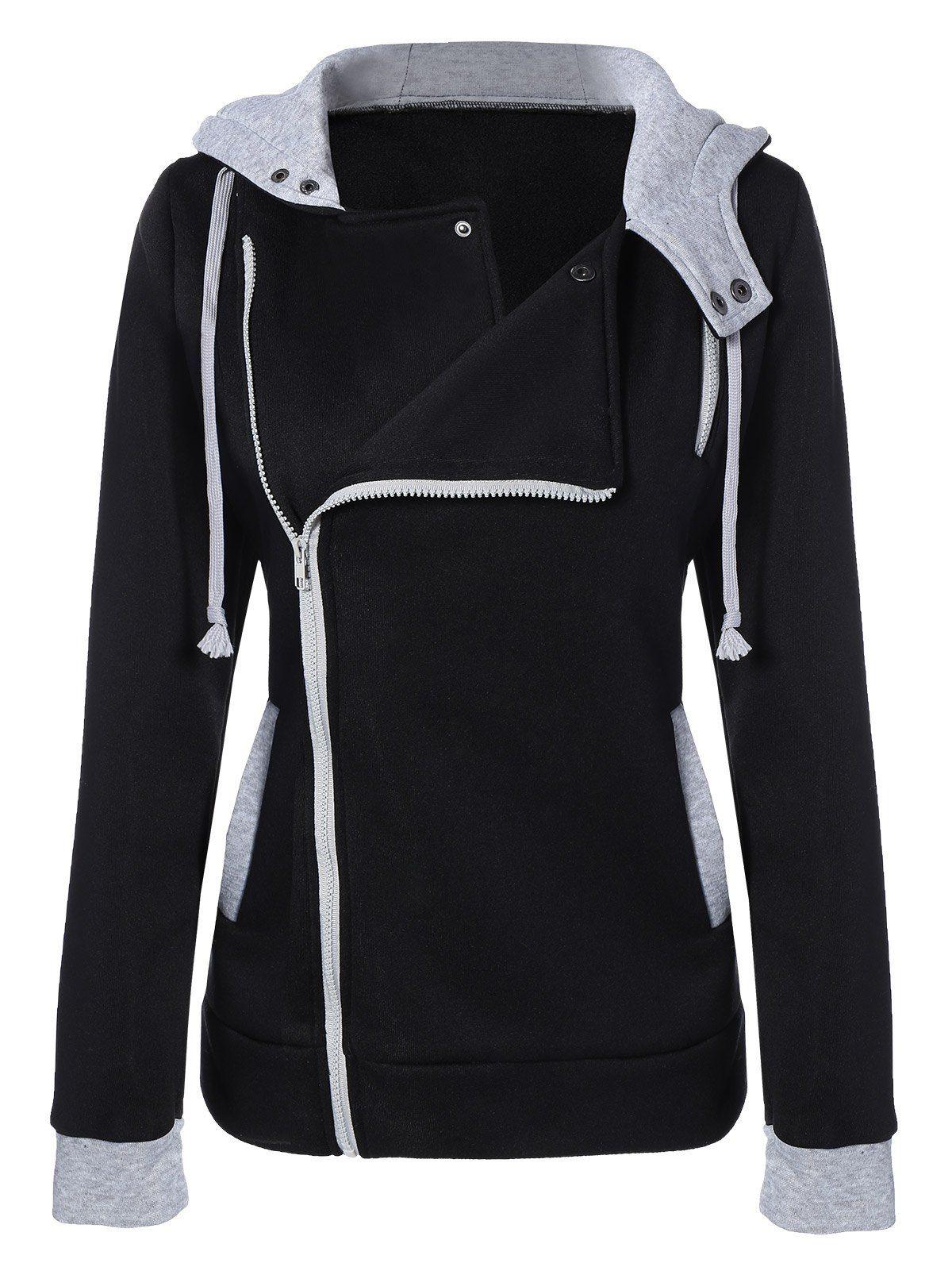 Pocket oblique zipper slim fit hoodie jacket hoodie clothes and black