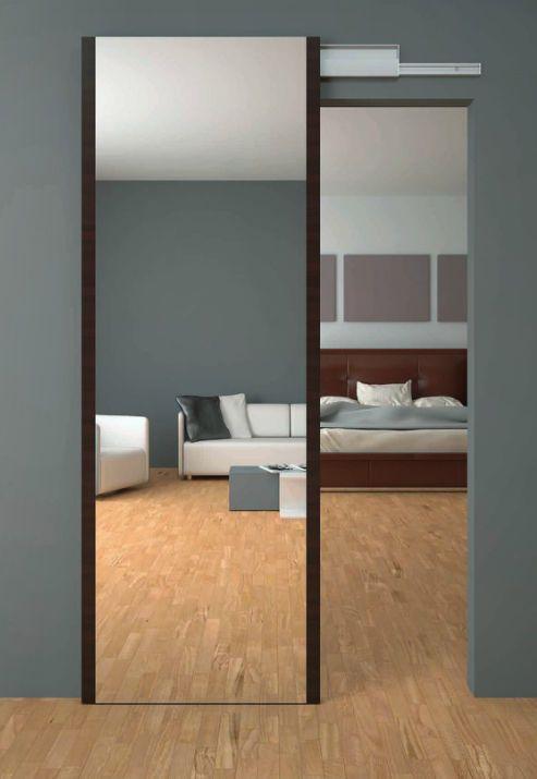 Porta interna scorrevole in legno con specchio solo anta fbp porte appartamento - Vetri a specchio per finestre ...