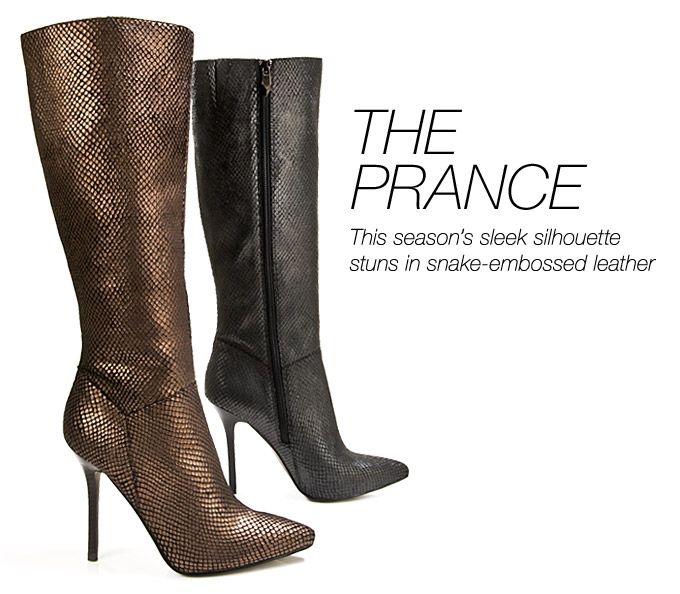 The Prance. This season's silhouette stuns in snake-embossed leather. Create a look that is sure to turn heads in the PRANCE dress boots from @Fergie Footwear