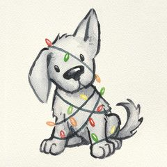 Photo of cute puppy dog wrapped in Christmas tree lights, hand painted and drawn watercolor Christmas illustration, funny naughty puppy Christmas card design – Buy this stock illustration and explore similar illustrations at Adobe Stock