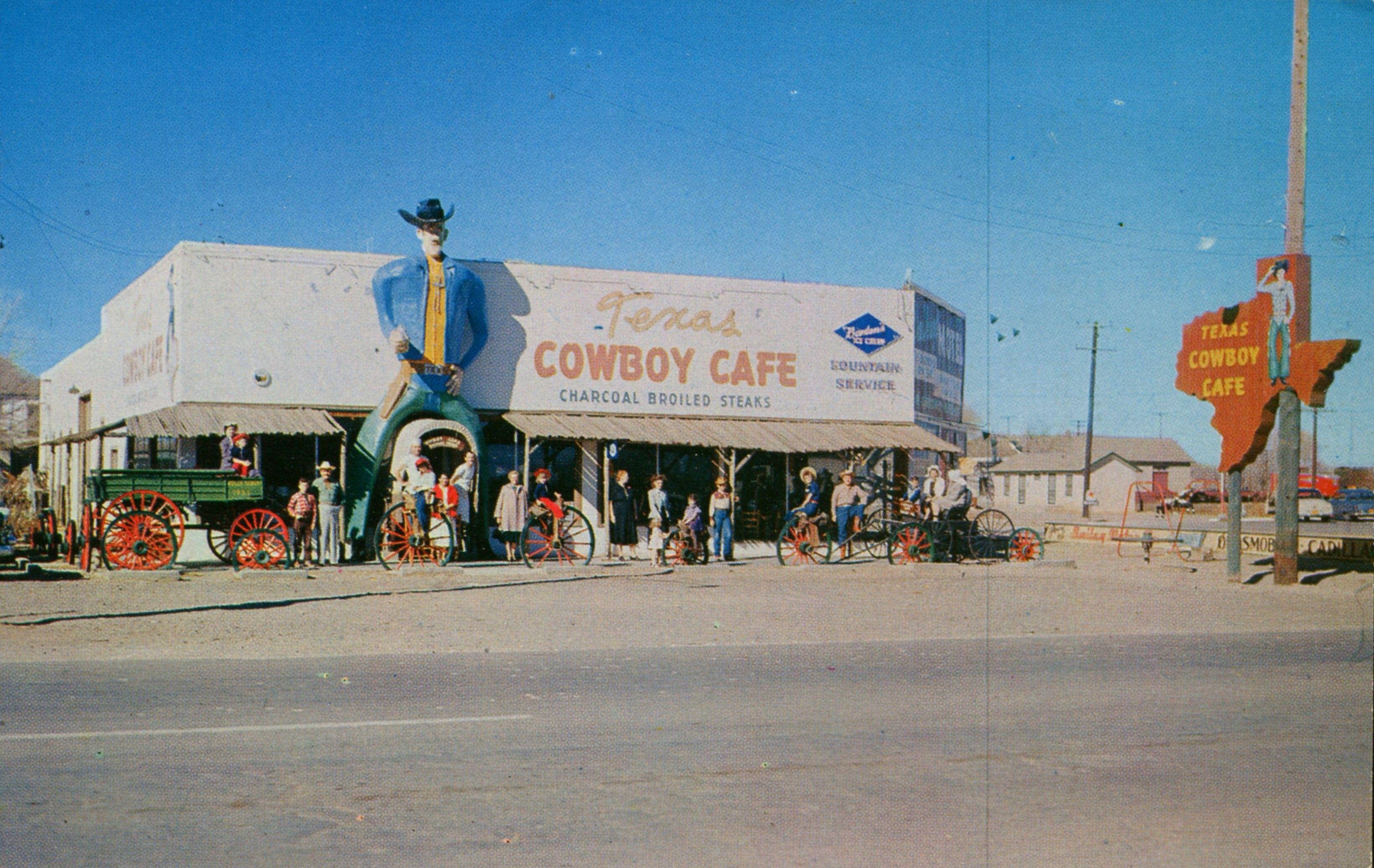 Cowboy Cafe Dalhart Texas 9224402519 O Postcards Collectables Vintage Retro Photos Art Cowboy Cafe Postcard Roadside Attractions