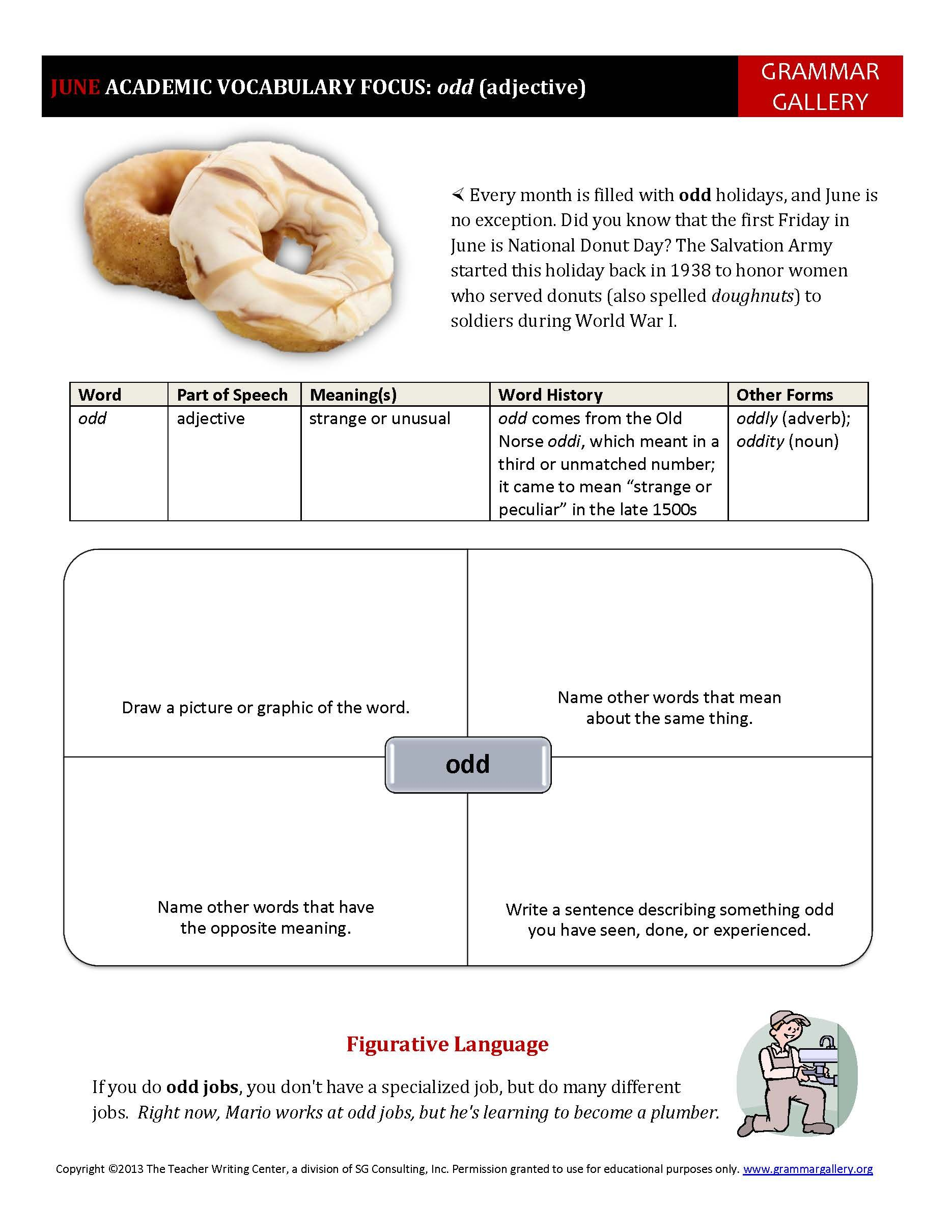worksheet Academic Vocabulary Worksheets a worksheet to help middle school and high students develop their academic vocabulary junes