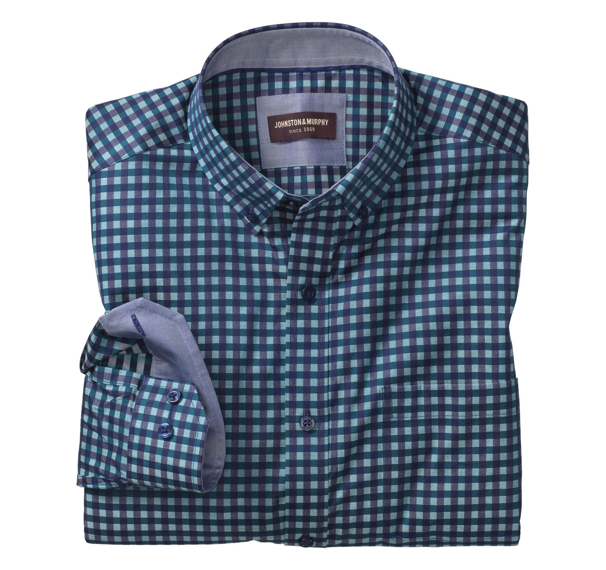 #Johnston & Murphy - #Johnston & Murphy Johnston & Murphy Dark Twill Gingham Button-Down Collar Shirt - AdoreWe.com