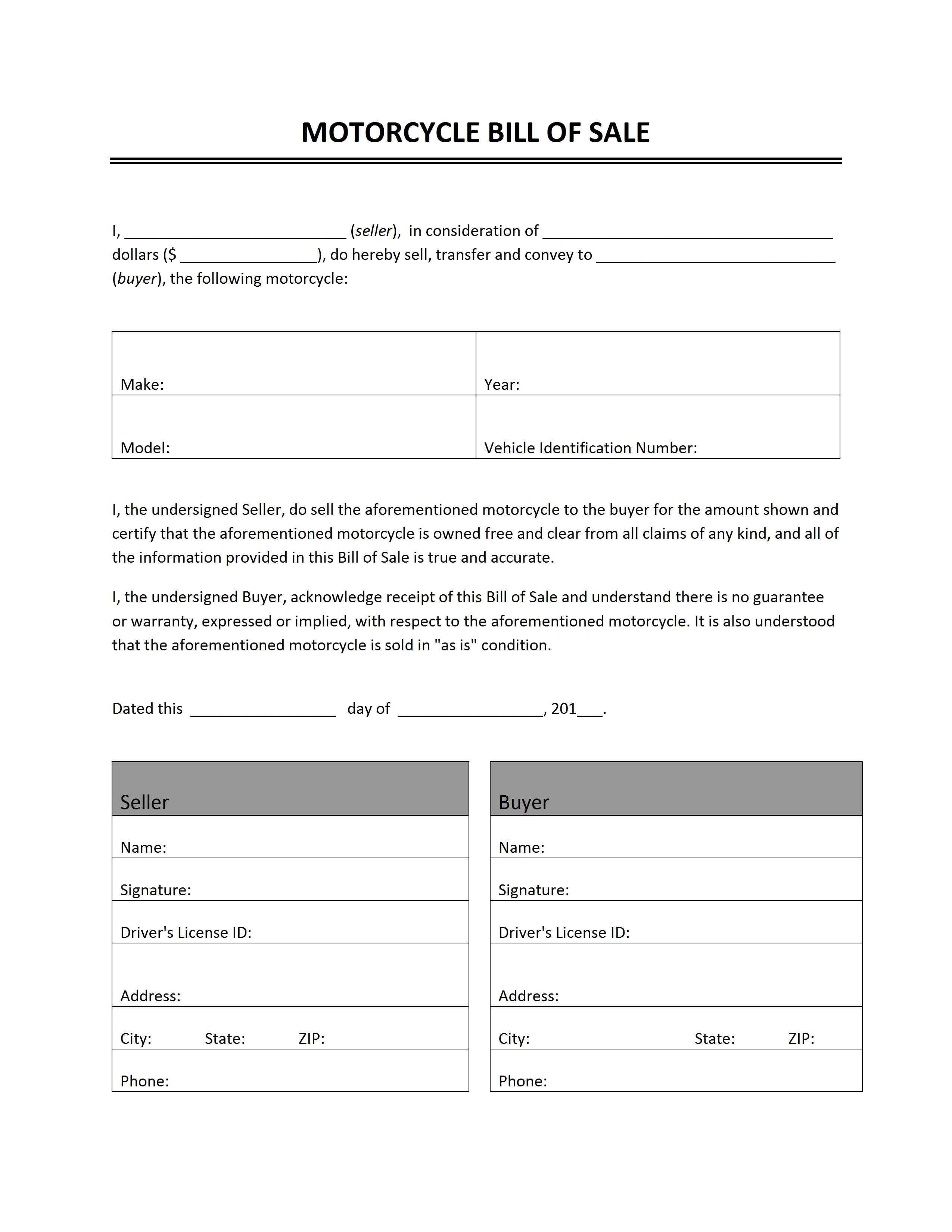 Printable Sample Bill Of Sale Templates Form Bill Of Sale Template Receipt Template Invoice Template Motorcycle bill of sale printable