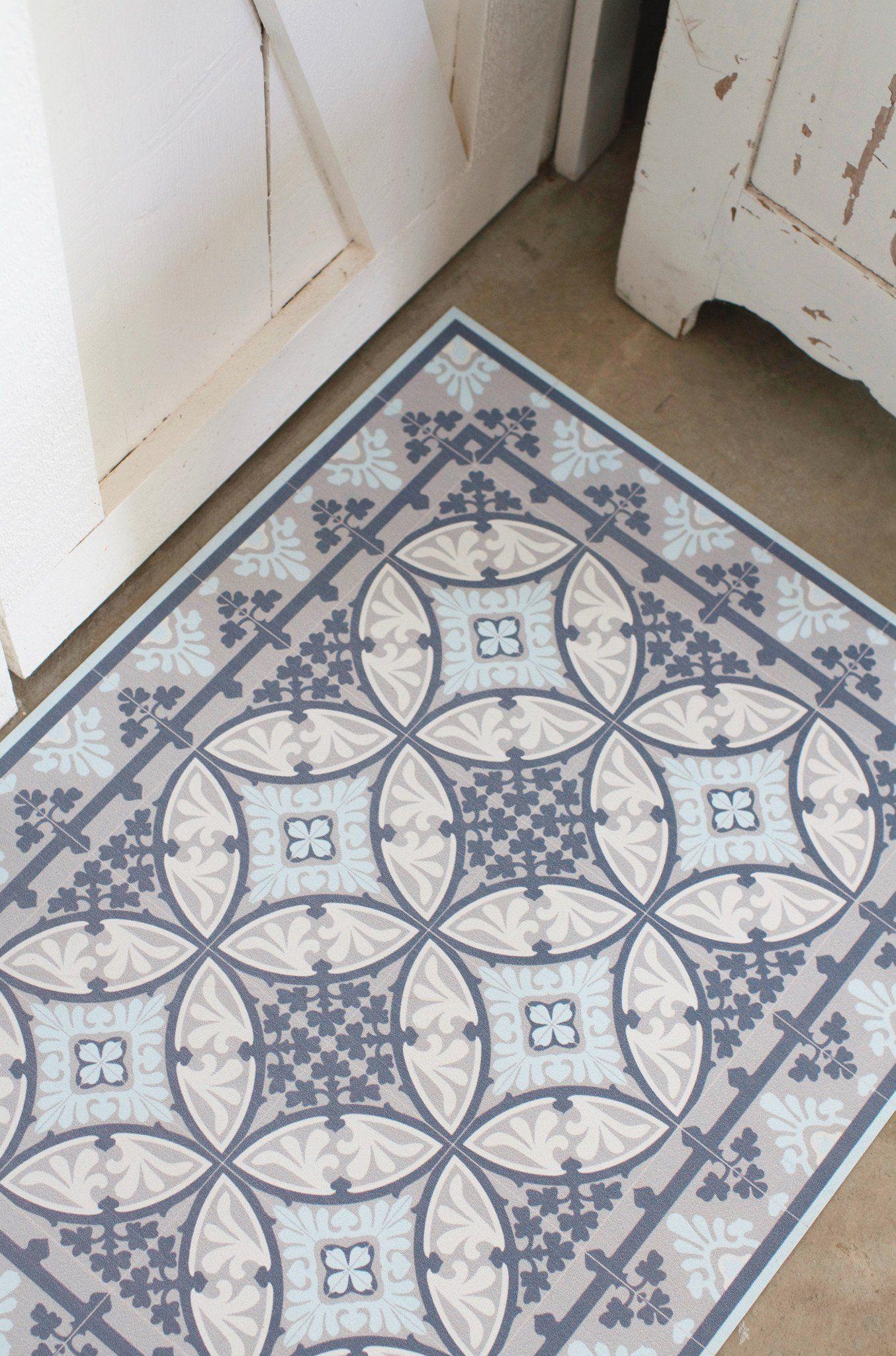 Moroccan tile vinyl floor mat