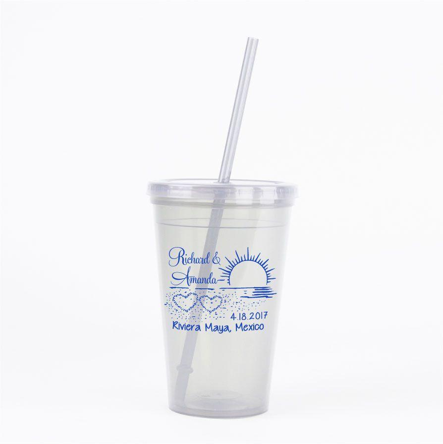 60 Personalized Tumblers with Lid & Straw - Beach or Destination ...