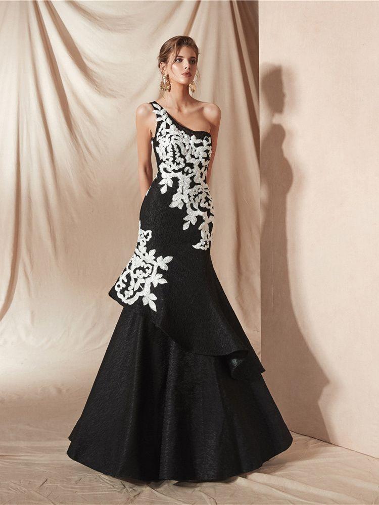 Asymmetrisches Abendkleid Meerjungfrau Ballkleider Schwarz