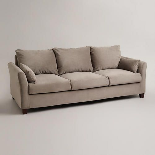 Gray Mink Velvet Luxe 3-Seat Sofa Slipcover This couch is ...